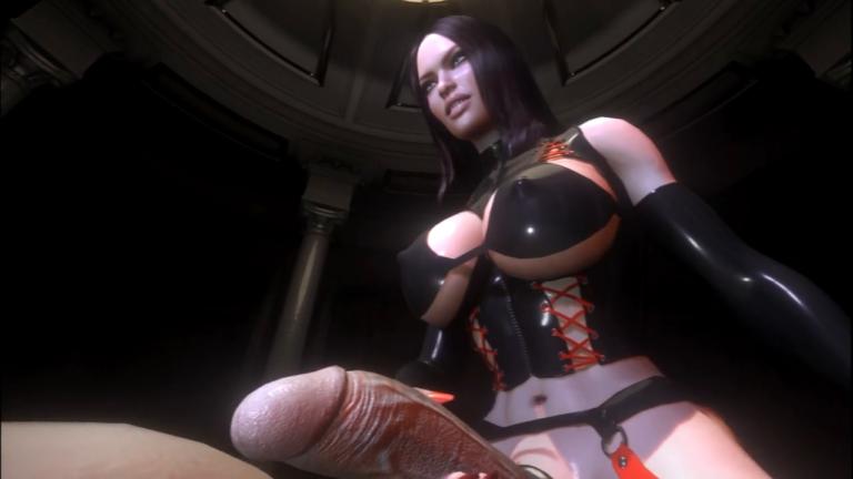 Futa VR sex game: Futanari big tits mistress fucks slave in virtual reality dungeon