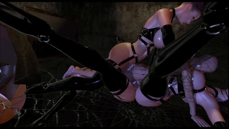 Futa VR porn game: Futanari orgy foursome with double-dick guy
